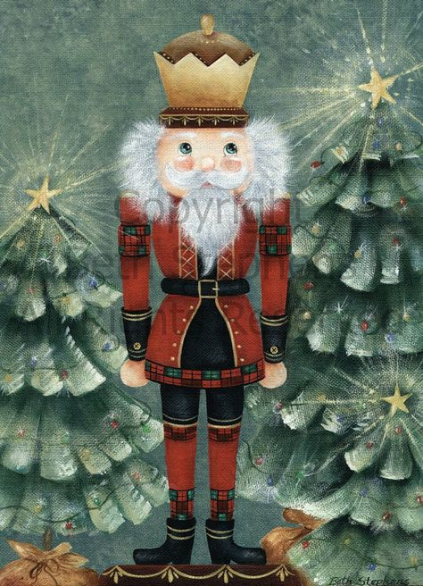 Nutcracker Art, King Nutcracker, The Nutcracker Art Print, Nutcracker with Christmas Trees