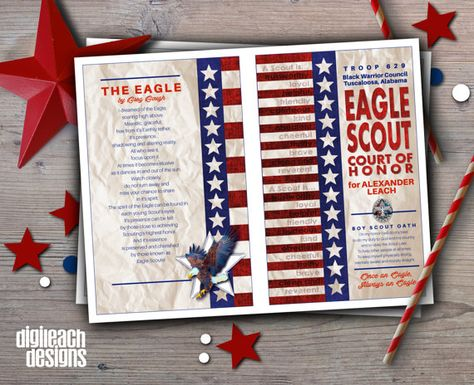 DIGITAL FILE ONLY – CUSTOMIZED AND EMAILED TO YOU. THIS IS NOT AN INSTANT DIGITAL DOWNLOAD THAT YOU EDIT YOURSELF.  Create lasting memories of your new Eagle Scout's medal presentation ceremony from start to finish with a personalized Eagle Court of Honor program cover which matches the personalized invitation. Two different formats are available:  PROGRAM COVER This listing is for either the program cover front and back only, with inside blank. The back is designed with either the An Eagle S...