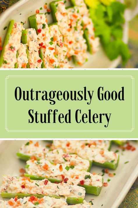 Outrageously Good Stuffed Celery Celery sticks stuffed with cream cheese, bacon, herbs and cheddar cheese are outrageously good! Served as an appetizer or snack, this is a recipe that's sure to become a favorite at parties, cookouts and family gatherings. Celery Snacks, Celery Recipes, Veggie Recipes, Cooking Recipes, Healthy Recipes, Eat Healthy, Vitamix Recipes, Finger Food Appetizers, Yummy Appetizers