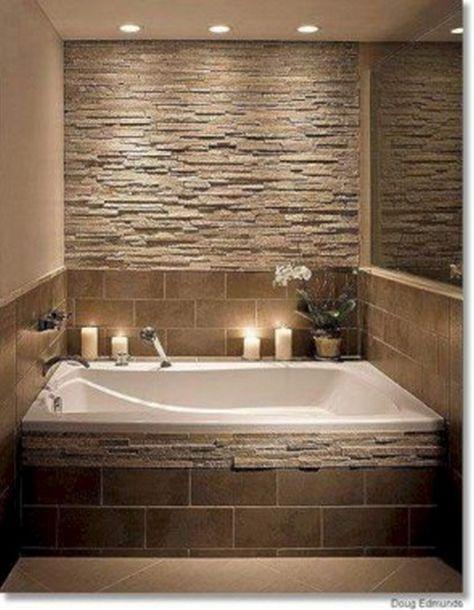 27 Wonderful Bathroom with Stone Wall Ideas #bathroomremodel #bathroomdesign #bathroomideas