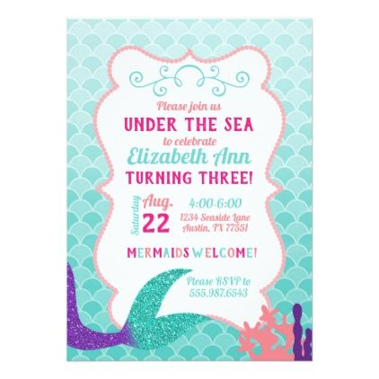 Mermaid Tail Under The Sea Birthday