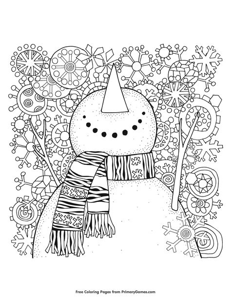 Free printable Winter Coloring Pages eBook for use in your classroom or home from PrimaryGames. Print and color this Snowman coloring page. Snowman Coloring Pages, Coloring Pages Winter, Printable Adult Coloring Pages, Christmas Coloring Pages, Coloring Pages For Kids, Abstract Coloring Pages, Flower Coloring Pages, Mandala Coloring Pages, Coloring Book Pages