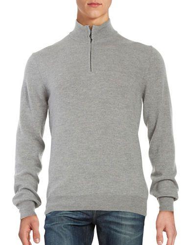 Black Brown 1826 Merino Wool Quarter-Zip Sweater Men's Light Grey ...