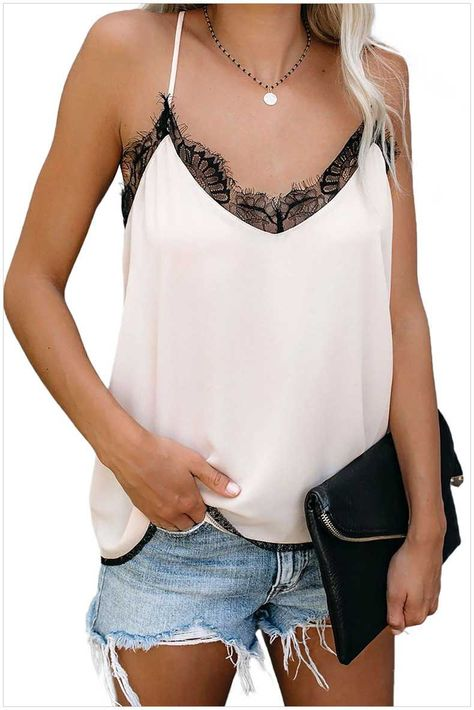 New Zecilbo Womens Summer Sexy V-Neck Lace Stain Spaghetti Strap Tanks Casual Sleeveless Cami Tops online shopping - Wehaveover
