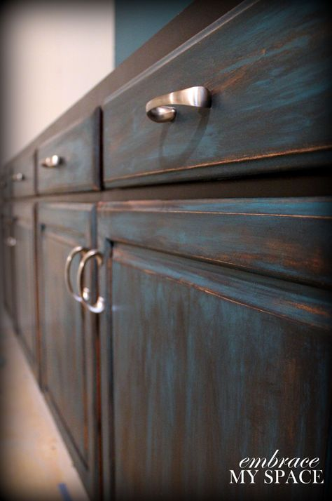 furniture distressing DIY -- Not crazy about the blue, but her extremely detailed instructions will be very useful!