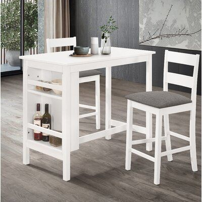 Charlton Home Mull 3 Piece Counter Height Dining Set Dining Room Sets Counter Height Dining Sets White Dining Set 3 piece counter height table set