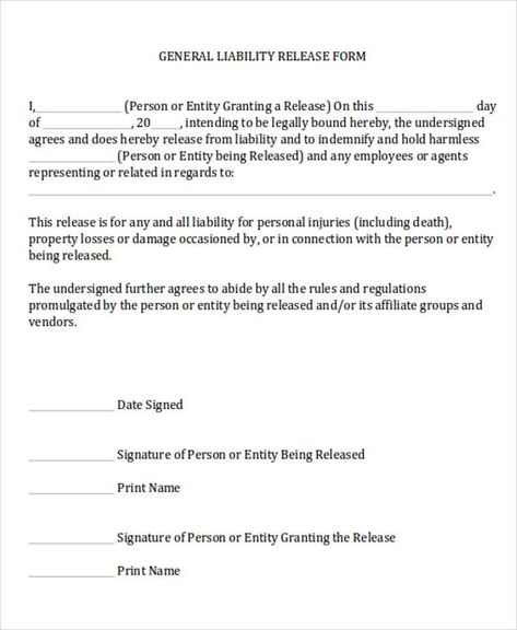 Image Result For General Release Of Liability Form
