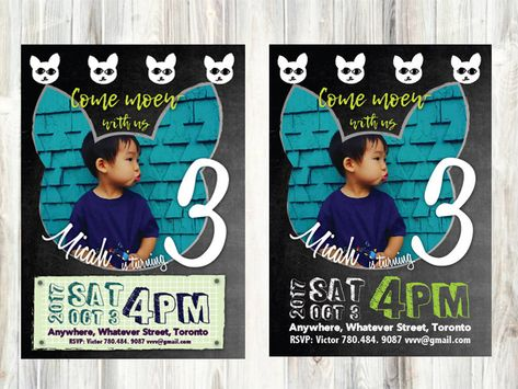 Cat Chalkboard Birthday Chalkboard invitation -blue ,black and white cat,  1st Birthday -Photo- Personalized and Printable Birthday Poster#Cat #Meow #Chalkboard #Boy #Girl #Birthday #Helloween #FallBirthdy #Photo #Personalize #BlackAndWhite #Drawing