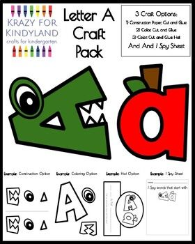 Letter A Craft Pack For Kindergarten Letter A Crafts Lettering