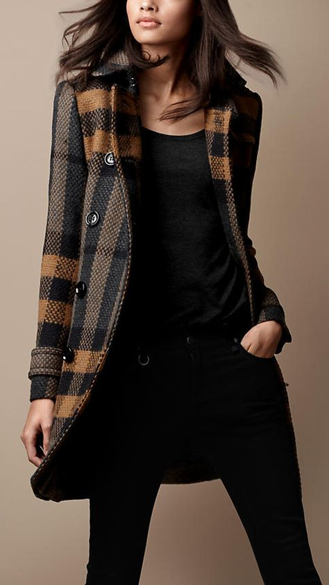 Burberry Brit Mid-Length Woven Check Wool Trench Coat. [ VelvetEyewear.com ] #accessories #luxury #style