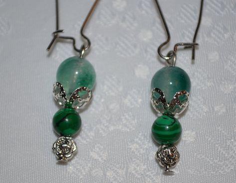 tibétain bijoux jade et perles Boucles d/'oreilles