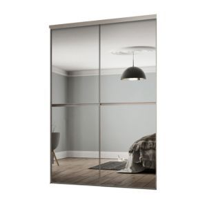 Minimalist Mirrored Sliding Wardrobe Door Kit H 2260 Mm W 1200mm Pack Of 2 Mirrored Wardrobe Doors Wardrobe Doors Sliding Mirror Wardrobe Doors