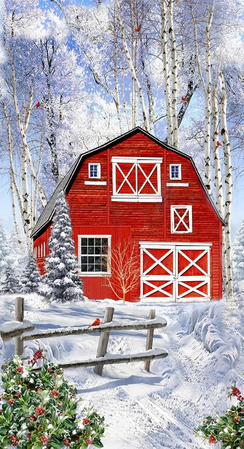 Winter Christmas Scenes, Christmas Art, Rustic Christmas, Woodland Christmas, Vintage Christmas, Winter Painting, Winter Art, Red Barn Painting, Tole Painting