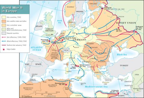 World War II- this image represents a map of World War II in Europe ...