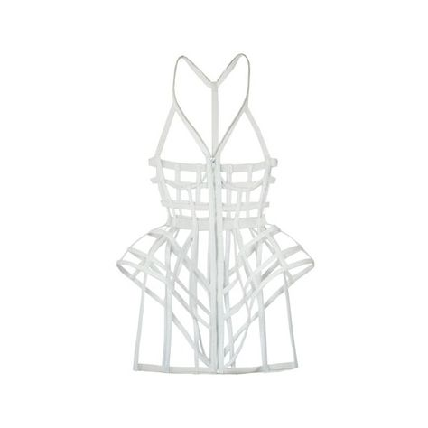 Chromat White Full Cage Dress (850 BRL) ❤ liked on Polyvore featuring dresses, lingerie, accessories, peplum dress, white peplum dress, bridal corset, victorian corset dress and white bridal corset