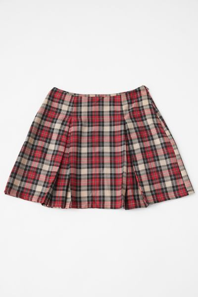 Women Girl Pleated Skirt Zipper Plaid Tennis Skirt School Cheer Live Dance Skirt