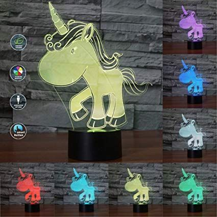 Unicorn 3d Led Light 3d Illusion Night Lamp Touch Switch Desk Night Lights 3d Optical Illusion Lights 7 Color Mu 3d Led Light 3d Optical Illusions 3d Illusions