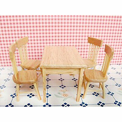 1:12 Scale DIY Wooden Dining Table Chairs Set Dollhouse Miniature Furniture
