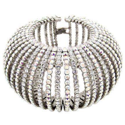 Butler and Wilson Multi Crystal Skull Thin Snap Bangle Bracelet NEW