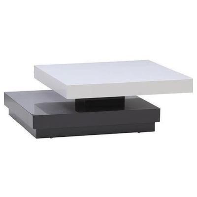 VEGAS blanc Table laqué gris et basse transformable 75x75cm SGUqpzMV