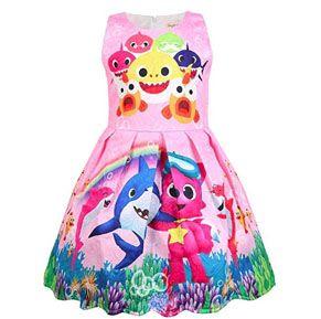 Kids Girls Toddler Trolls Sleeveless Dress Holiday Party Pageant Princess Dress
