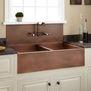 Sink With Integrated Backsplash Copper Farmhouse Sinks Copper