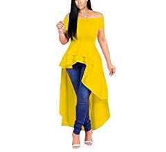 Fashion High Low Tops For Women Unique Ruffle Short Sleeve Tunic Shirt Small Blue At Amazon Women S Clothing Store