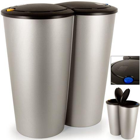 Double Poubelle 2x25 Litres Poubelle Duo Pour Tri Selectif Recyclage Bouton Poussoir Automatique 50x53cm 191475 Poubelle Poubelle Recyclage Poubelle Cuisine
