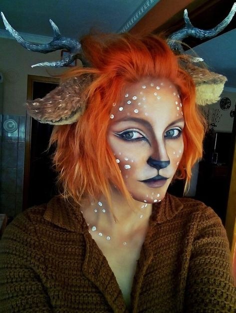 Deer makeup A deer cosplay a made last year. Deer Makeup, Animal Makeup, Fx Makeup, Cosplay Makeup, Makeup Ideas, Deer Costume Makeup, Faun Costume, Makeup Geek, Beauty Makeup