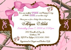 Pink Camo Baby Shower Invitation Templates Pink Camo Baby Shower