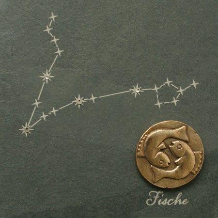 Wandrelief Sternzeichen Fische 14, 5cm Schiefer Swarovski