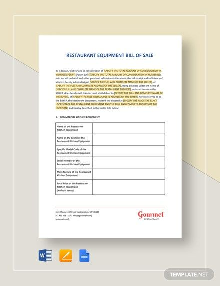 Instantly Download Restaurant Equipment Bill Of Sale Template Sample Example In Microsoft Word Doc Bill Of Sale Template Templates Templates Printable Free