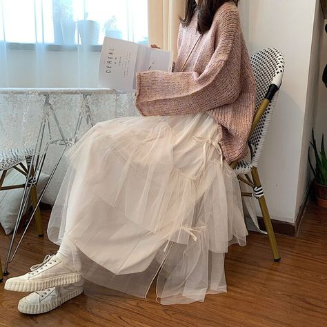 Ladies Elastic High Waist Women Tulle Skirt Solid Spring Summer Holiday Casual Soft Mesh s Womens Long Female