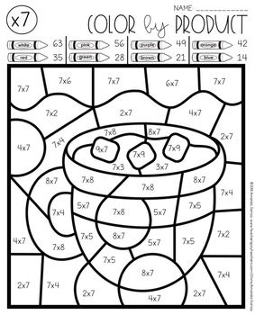 Winter Multiplication Color By Number Free By Amanda Garcia Teachers Pay Teachers Math Coloring Worksheets Winter Math Math Coloring