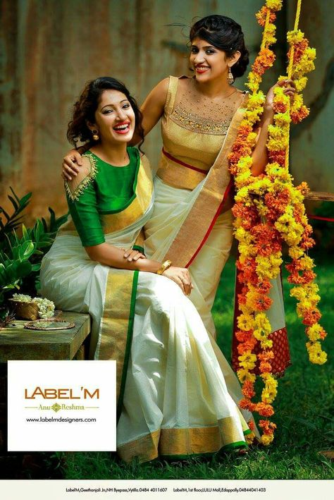 extraordinary silk saree - beautiful! white with green and white with golden blouse