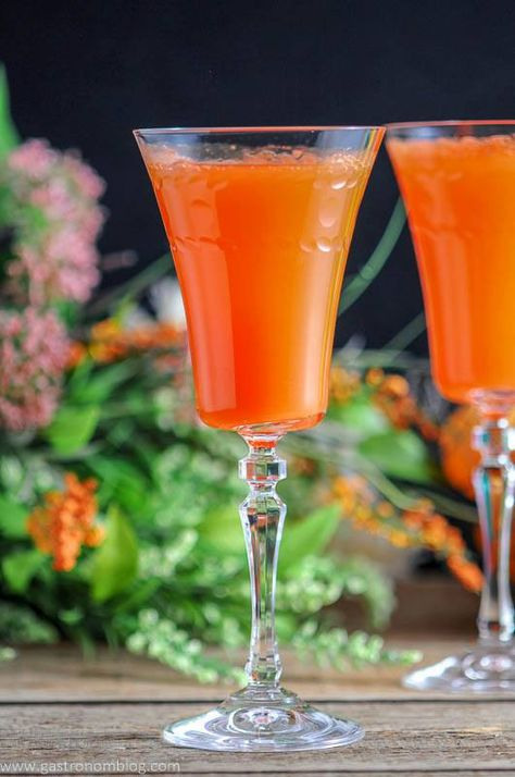 Two Carrot Ginger Mimosas In Rolf Glass Gatsby Cocktail Flutes And Spring Flowers And Easter Eggs With Images Easter Brunch Cocktails Brunch Cocktails Easter Cocktails