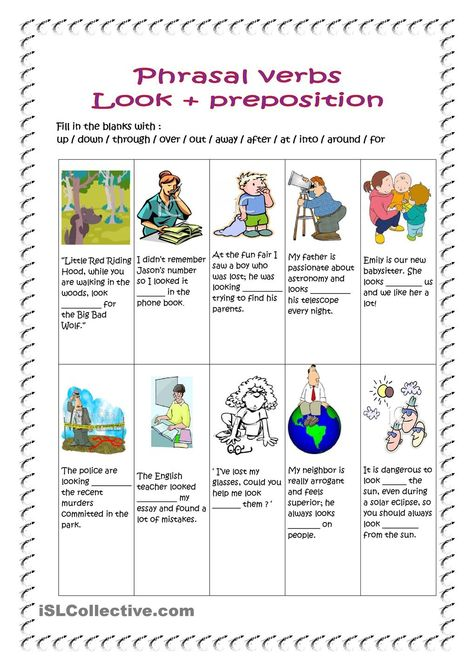 students need to fill in the blanks with the right preposition Phrasal verbs, Reading, Writing, fun activities & games, Intermediate Upper-intermediate.
