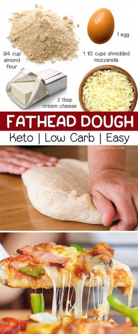 4 Ingredient Keto Pizza Crust (Fathead Dough) - Instrupix #FoodTips