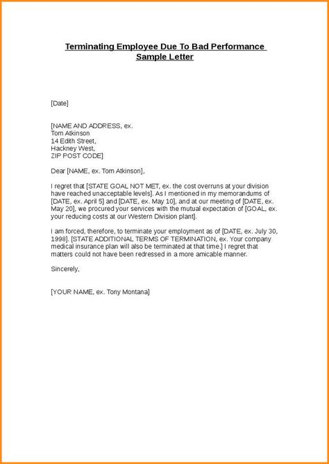 sample of termination letter for employee - Delliberiberi - sample termination letters for workplace