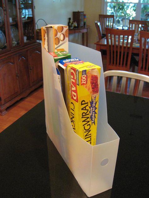 Magazine File....Prop up tin foil, plastic wrap, wax paper, parchment paper for a pantry storage solution.... BRILLIANT!