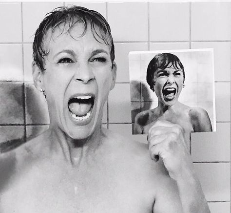Jamie Lee Curtis recreates her mom's famous Psycho shower scene!