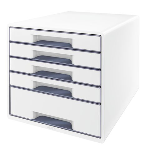 Desk Cube Leitz WOW 5-drawer WOW CUBE in striking and stylish dual colour effect with a high gloss finish.   #leitz #cube #WOW #stationary #organised
