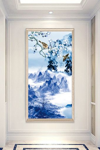 Chinese Zen Ink Painting Landscape Painting Flower And Bird Porch Decorative Painting Pikbest Deco Beautiful Oil Paintings Chinese Landscape Hallway Decorating
