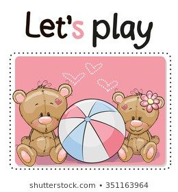 Two Cute Bears With A Ball On A Pink Background Urso De Pelucia
