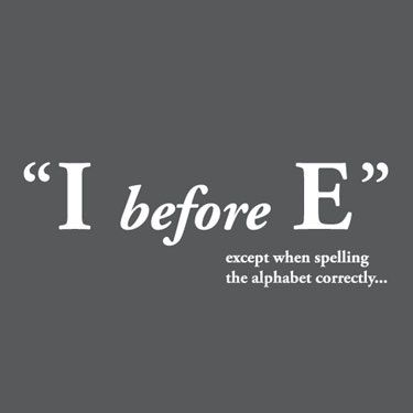 I before e except when spelling the alphabet correctly i before e except when spelling the alphabet correctly writingammar pinterest classroom humor and humor sciox Image collections