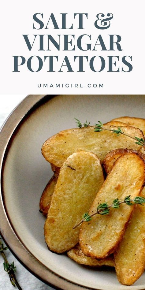 Salt and vinegar broiled potatoes make a highly addictive side dish or snack. Super-easy, vegan, and gluten-free. One of our most popular recipes of all time. #potatoes #sidedish #vegan #glutenfree #gf #easyrecipe #tailgate #gameday #dinnertonight