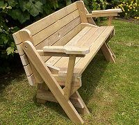 24 001P   Folding Bench And Picnic Table Combo Woodworking Plan | Furnature  | Pinterest | Picnic Tables, Woodworking Plans And Woodworking