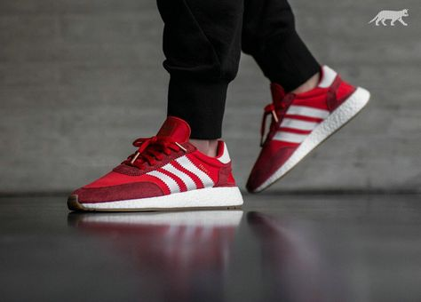 9878be16 Chaussures de sport New 2017 adidas Iniki Runner Boost Red On Feet Youth  Big Boys Sneakers