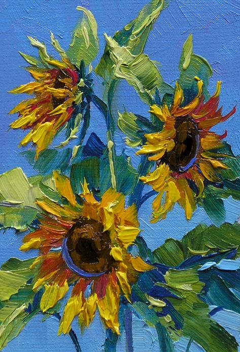 Sun's Caress blumen Don't you just love Sunflowers? They are so cheerful and happy, how can you not Sunflower Drawing, Sunflower Art, Sunflower Paintings, Paintings Of Sunflowers, Degas Paintings, Floral Paintings, Oil Painting Flowers, Oil Painting Abstract, Oil Painting Pictures