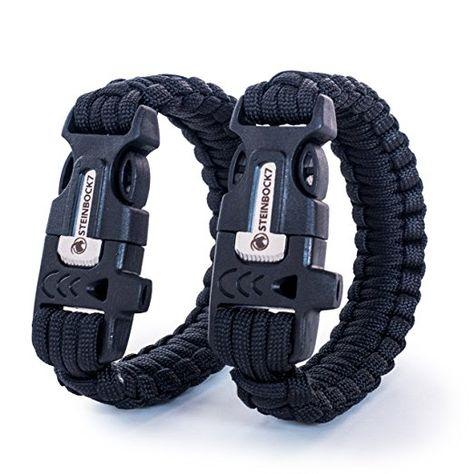 Steinbock7® Survival Armband, 2er Set, Paracord + Pfeife +